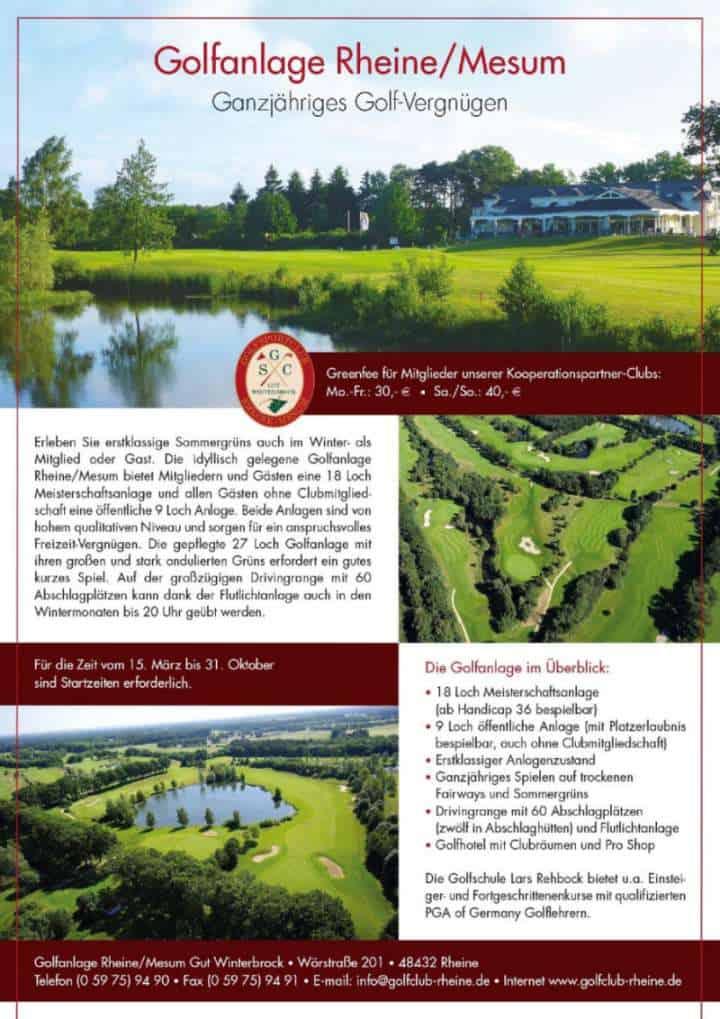 Anzeige Golfanlage Rheine Mesum Golfkurs