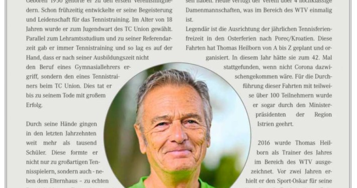 Nachruf zu Thomas Heilborn TC Union
