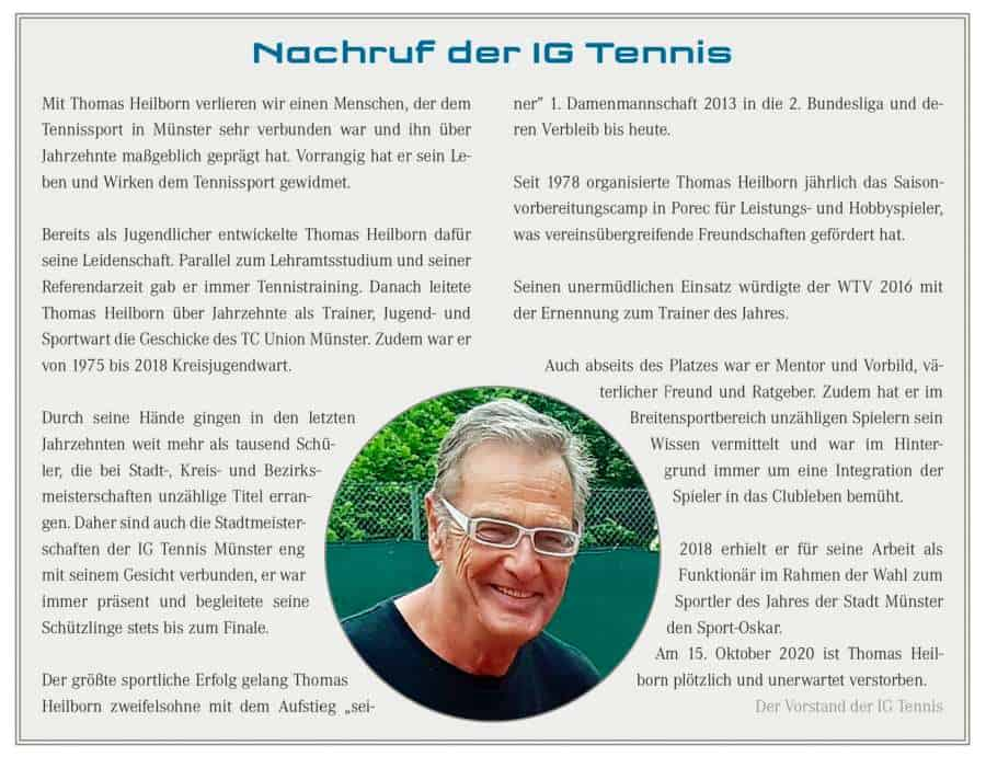 Nachruf der IG Tennis zu Thomas Heilborn