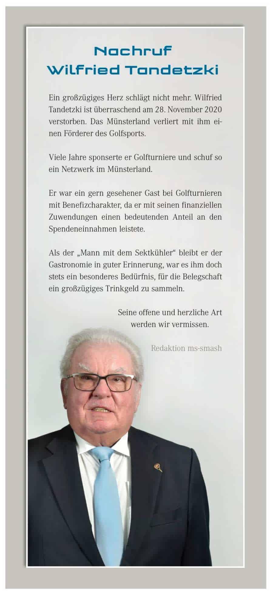 Nachruf Wilfried Tandetzki