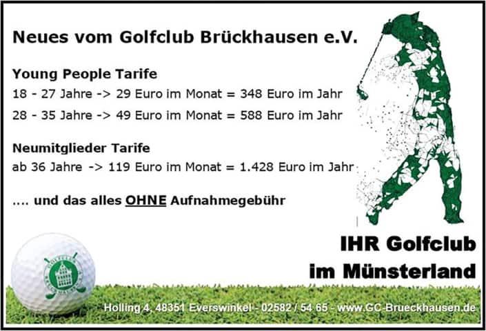 Anzeige GC Brückhausen e.V. Mitgliedschaft