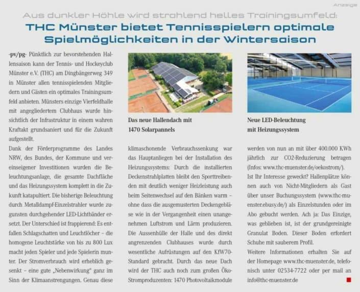 THC Münster Spielmöglichkeiten in der Wintersaison